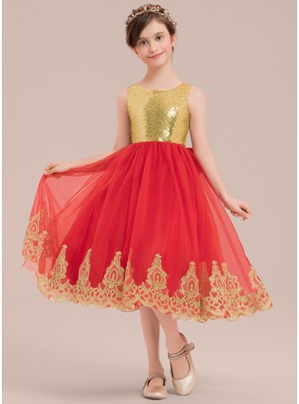 A-Line/Princess Knee-length Flower Girl Dress - Satin/Tulle/Lace/Sequined Sleeveless Scoop Neck With Bow(s)