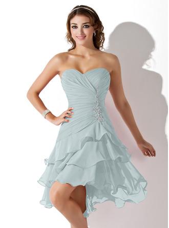 A-Line Sweetheart Asymmetrical Chiffon Homecoming Dress