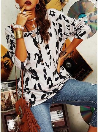 Leopard Kulatý Výstřih Dlouhé rukávy Neformální tričko