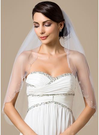 Einschichtig Ellenbogen Braut Schleier mit Wellenkante/Perlenbesetzter Saum