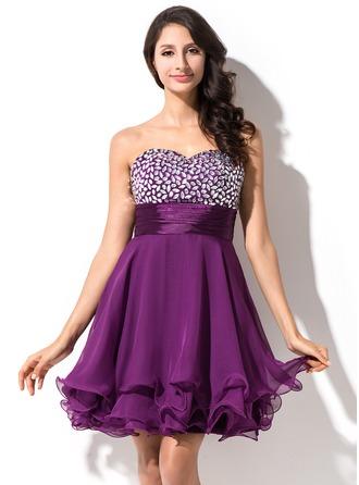 Empire Sweetheart Short/Mini 30D Chiffon Homecoming Dress With Beading