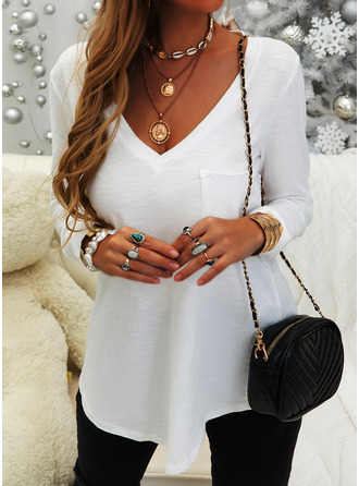 Solide V-hals Lange Mouwen Basic Casual t-shirt