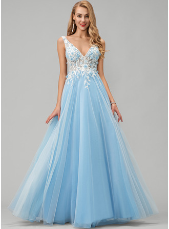 A-Line V-neck Floor-Length Tulle Prom Dresses With Lace Flower(s) Sequins