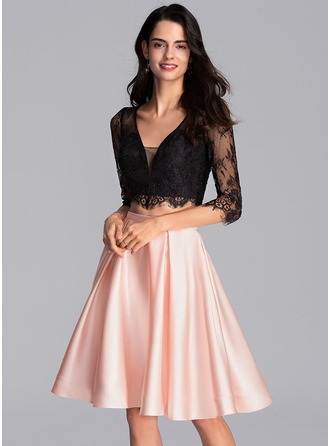A-Line V-neck Knee-Length Satin Homecoming Dress With Pockets