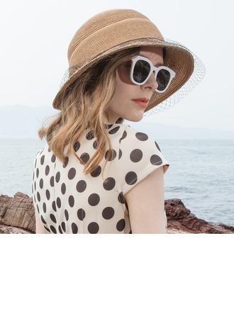 Senhoras Simples/Fantasia Papiro com Tule Chapéus praia / sol