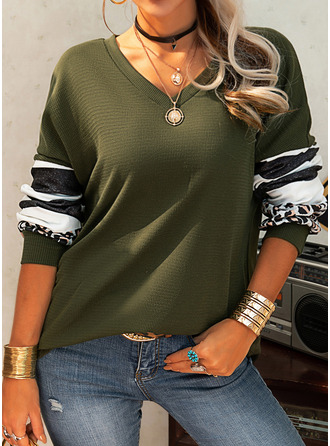 Leopard Striped V-Neck Long Sleeves Casual Blouses (1003255674)
