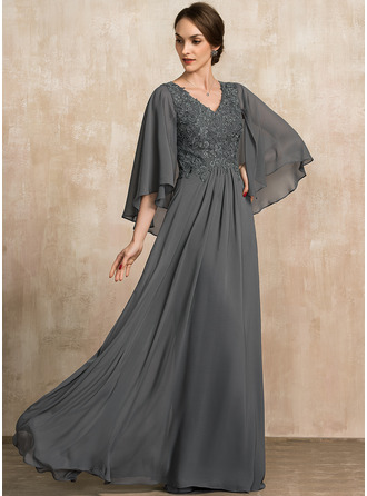 A-Line V-neck Floor-Length Chiffon Lace Mother of the Bride Dress With Sequins