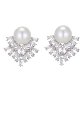 Damen Elegant Kupfer/Zirkon/Faux-Perlen Faux-Perlen Ohrringe Ihr/Freunde/Braut/Brautjungfern/Blume Mädchen