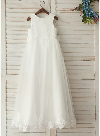 A-Line/Princess Floor-length Flower Girl Dress - Satin/Lace Sleeveless Scoop Neck With Bow(s)