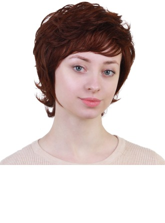Curly Human Hair Blend Human Hair Wigs 80g