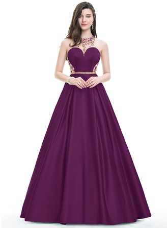 Ball-Gown/Princess Scoop Neck Floor-Length Satin Prom Dresses With Beading Sequins