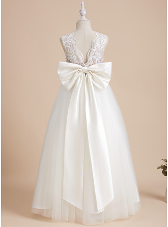 A-Line Scoop Neck Floor-length With Sequins/Bow(s)/V Back Satin/Tulle/Sequined Flower Girl Dress