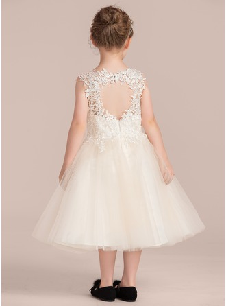 A-Line/Princess Knee-length Flower Girl Dress - Tulle/Lace Sleeveless Scoop Neck With Appliques