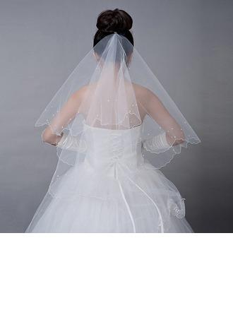 1 couche Voile de mariée longueur coude avec De faux pearl