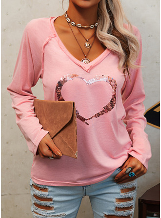 Sequins Heart V-Neck Long Sleeves Casual T-shirt