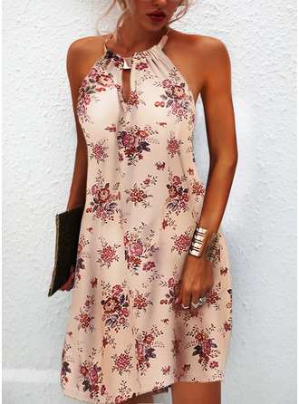 Floral Print Shift Sleeveless Mini Casual Dresses
