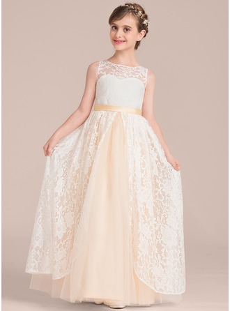A-Line/Princess Scoop Neck Floor-Length Tulle Lace Junior Bridesmaid Dress