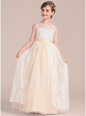 A-Linie/Princess-Linie U-Ausschnitt Bodenlang Tüll Lace Kleid für junge Brautjungfern
