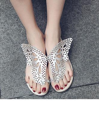 Женщины кожа Плоский каблук Вьетнамки Сандалии Beach Wedding Shoes с В дырочку