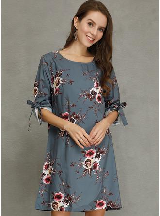フローラル 印刷 シフトドレス 1/2袖 ミニ カジュアル チュニック ファッションドレス