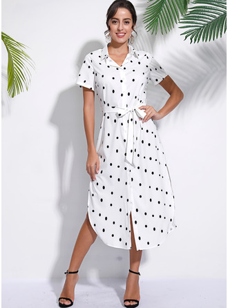 PolkaDot A-line Short Sleeves Midi Casual Vacation Dresses