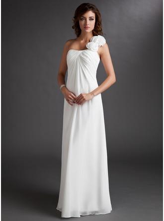 С завышенной талией Одно плечо Длина до пола шифон Платье Подружки Невесты с Рябь Цветы