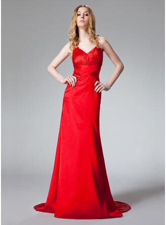 Sheath/Column Halter Sweep Train Charmeuse Prom Dress With Ruffle Beading