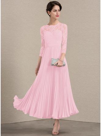A-Linie/Princess-Linie U-Ausschnitt Knöchellang Chiffon Spitze Kleid für die Brautmutter mit Gefaltet