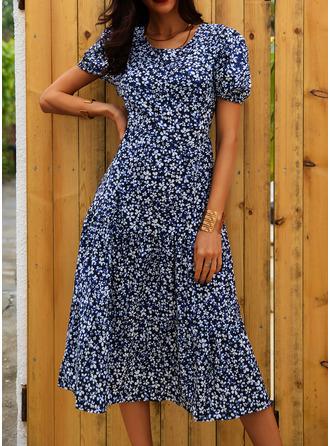 Floral Print A-line Puff Sleeves Short Sleeves Midi Casual Elegant Skater Dresses