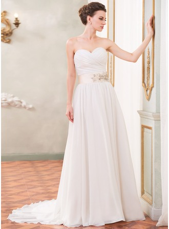 A-Line/Princess Sweetheart Court Train Chiffon Wedding Dress With Ruffle Sash Beading Sequins