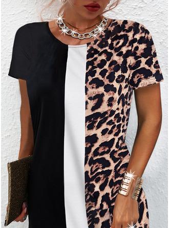 Leopard Color Block Print Shift Short Sleeves Mini Casual Tunic Dresses
