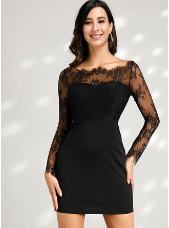 Lace Solid Sheath Long Sleeves Mini Little Black Party Sexy Dresses