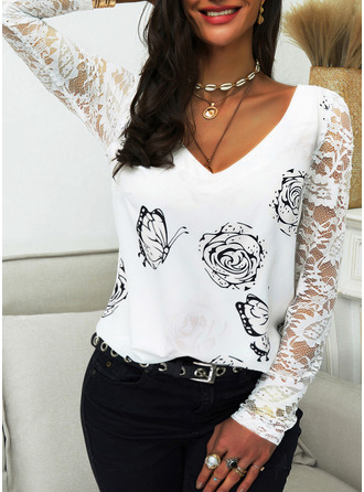 Animal Print Floral Lace V-Neck Long Sleeves Casual Blouses