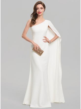 Sheath/Column One-Shoulder Floor-Length Satin Evening Dress