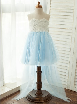 Knee-length Flower Girl Dress - Tulle/Lace Strapless