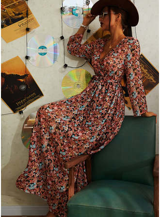 Floral Print A-line Long Sleeves Midi Casual Vacation Skater Wrap Dresses