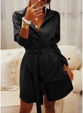 Spitze Einfarbig Etui Lange Ärmel Mini Kleine Schwarze Lässige Kleidung Elegant Hemdkleider Modekleider