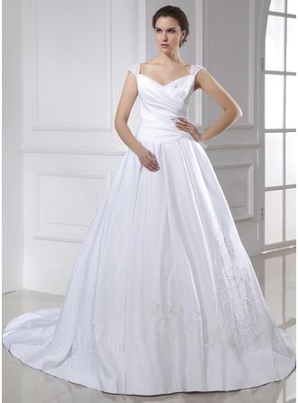 De baile Decote V Cauda longa Cetim Vestido de noiva com Bordados Pregueado