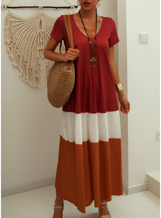 Maxi V neck Polyester Color-block Short Sleeves Fashion Dresses