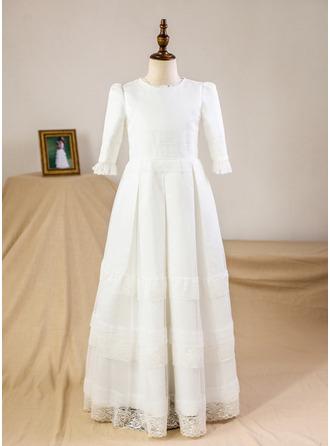 エンパイア マキシレングス フラワーガールのドレス - サテン/レース 3/4 袖 スクープネック