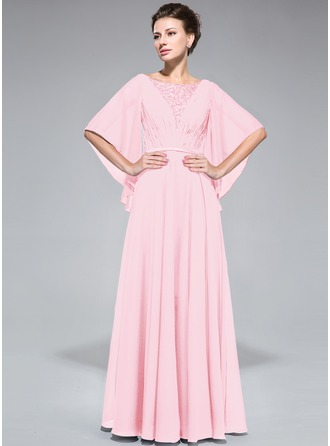 A-Linie/Princess-Linie U-Ausschnitt Bodenlang Chiffon Kleid für die Brautmutter mit Rüschen Spitze Perlstickerei Pailletten