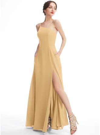 A-Line One-Shoulder Floor-Length Bridesmaid Dress With Split Front Pockets