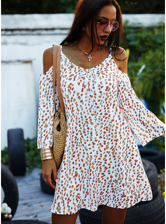 Print Shift 3/4 Sleeves Cold Shoulder Sleeve Mini Casual Vacation Dresses