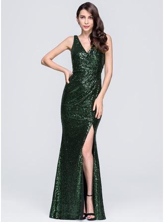 Sheath/Column V-neck Floor-Length Sequined Prom Dress With Ruffle Split Front