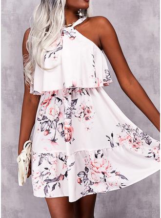 Floral Print A-line Sleeveless Mini Casual Skater Dresses