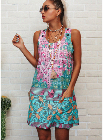 Print Shift Sleeveless Mini Boho Casual Vacation Tank Dresses