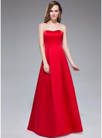 Forme Princesse Bustier en coeur Longueur ras du sol Satiné Robe de demoiselle d'honneur