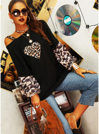 Leopard Print One Shoulder Lantern Sleeve Long Sleeves Casual Blouses (1003254811)