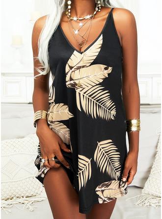 Print Shift Sleeveless Mini Elegant Dresses