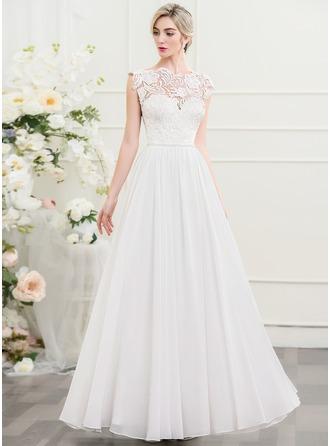 A-linjeformat Rund-urringning Golvlång Chiffong Bröllopsklänning